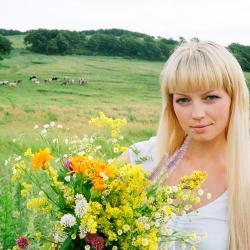Портрет девушки с цветами на фоне коров
